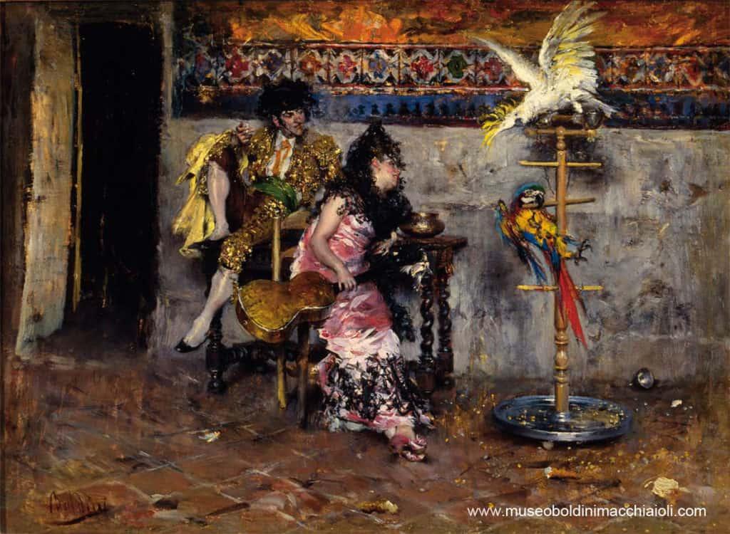 Giovanni Boldini, Coppia in abito spagnolo con due pappagalli (El matador)