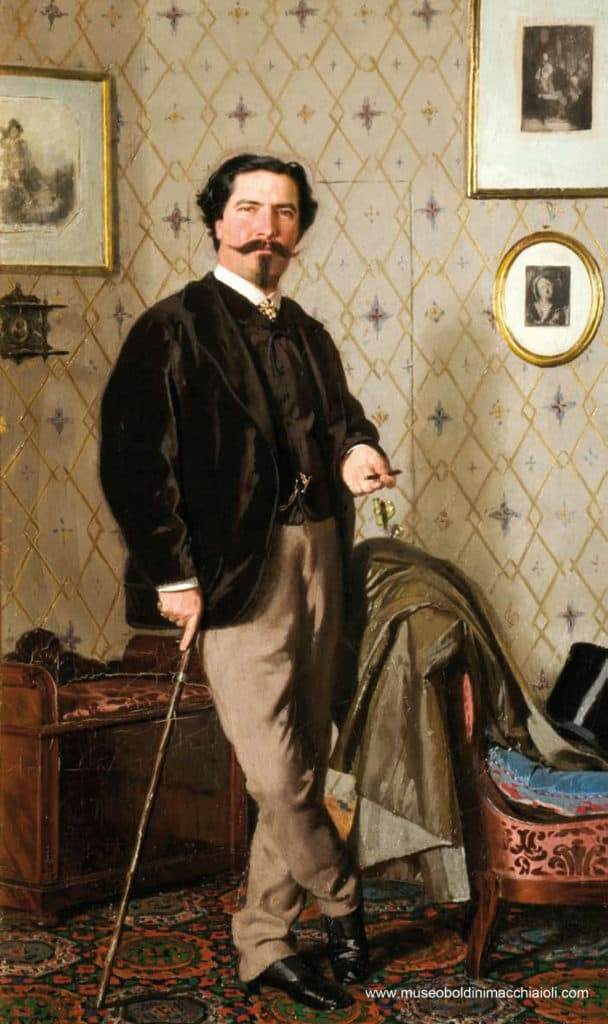 Giovanni Boldini, il pittore Cristiano Banti con canna da passeggio, 1866 c. olio su tela, cm 57 x 33,5